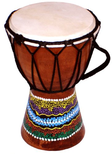 15cm Djembe Drum with Hand Painted Design - West African Bongo Dru