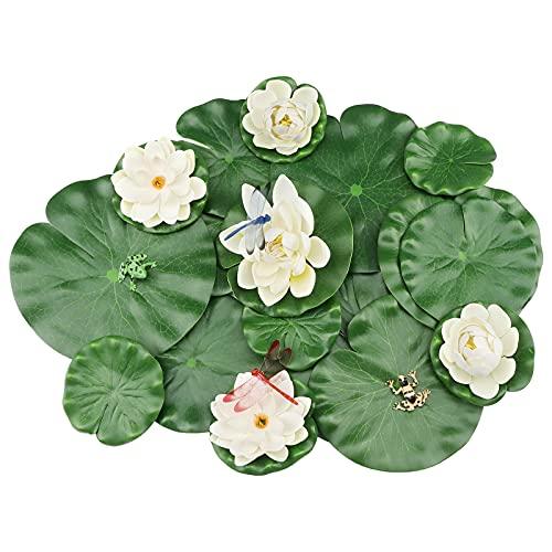 Teich Dekoration 21 Stück, MicButty Seerosen Künstlich, Elfenbein Seerose Lotusblüte und Lotusblätter blätter mit Libelle Frosch, Schwimmende Blumen Dekor Wasserlilie für gartenteich deko Garten
