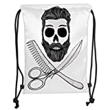 Fevthmii Drawstring Backpacks Bags,Indie,Hipster Skull with