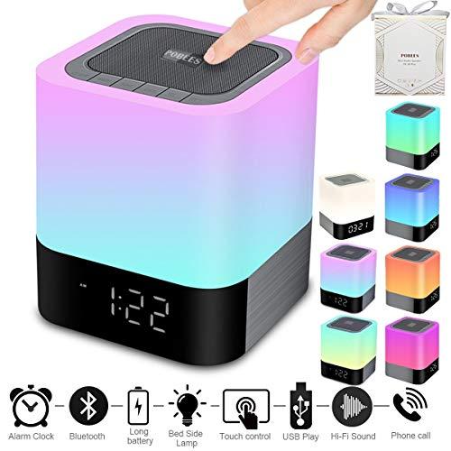 Portable Wireless Bluetooth Speaker -Big Sound,48 Led Changing Color,Light Night Lamp,Alarm Clock,MP3