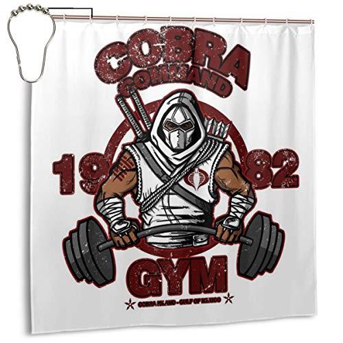 Cortina de Ducha Cobra Command Gym GI Joe con Estampado de Sombra de tormenta, Impermeable, de poliéster, con Ganchos, 72 Pulgadas x 72 Pulgadas