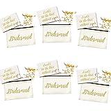 メイド・オブ・オナー プロポーズギフト 4個パック | ブライズメイドの文字が書かれたキャンバス製メイクアップバッグ + ラブノットブレスレット + カード付き | ブライダルシャワーのバチェロレッテ・パーティー記念品 吊り下げキット バッグ ウェディングパーティー用 ピンク