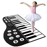 M SANMERSEN Piano Mat, 71' Kids Keyboard Mat 24 Keys Keyboard Floor Mat with 10 Demos/ 8 Instrument Sounds/ Adjustable Volume/ Record/ Playback/ Input Function Dance Mats Best Gift for Boys Girls