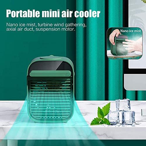 ZZFF Ventilador De Aire Acondicionado De Escritorio,Portátil Mini Enfriador De Aire Evaporativo,3 Viento Velocidades Espacio Personal Ventilador,Ultra Quiet Ventilador De Mesa Verde 17 * 12 * 10 Cm