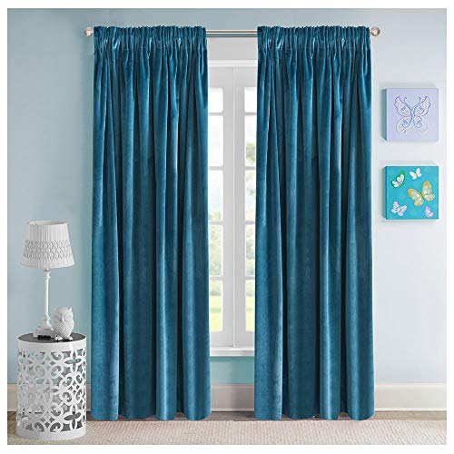 Roslynwood Solid Soft Velvet Window Curtain Rod Pocket Drapes Dusty Blue 52' x 84' (2 Panels)