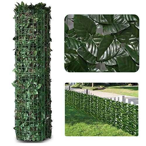 LSXIAO-Decorative Fences Artificial Ivy Fence Garden Privacy Screen UV-resistant PVC Maintenance-free Supplied with Cable Tie for Terrace, Porch, Wooden Fence, Backyard (Color : Green, Size : 1.5x4m)