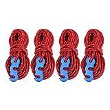 LSAR Cuerda de Tienda de Alta tenacidad, Cuerda de Viento para Tienda, Fuerza de tracción Fuerte Reflectante Antideslizante para Cuerda de sujeción de Material de tendedero(Red)