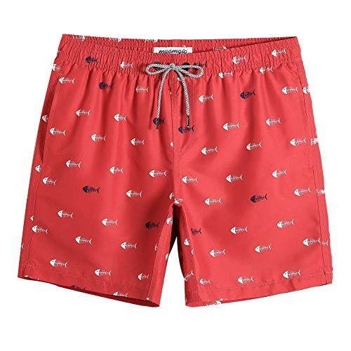 MaaMgic Badehose für Herren Jungen Badeshorts für Männer Schnelltrocknend Surfen Strandhose Surf Shorts mit Mash-Innenfutter MEHRWEG Rot Weiß Gräte