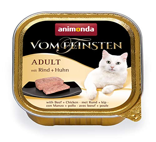 animonda Vom Feinsten Adult Katzenfutter, Nassfutter für ausgewachsene Katzen, mit Rind + Huhn, 32 x 100 g