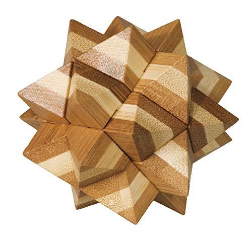 Fridolin 3D-Puzzle Stern aus Bambus, IQ-Test / Brainteaser