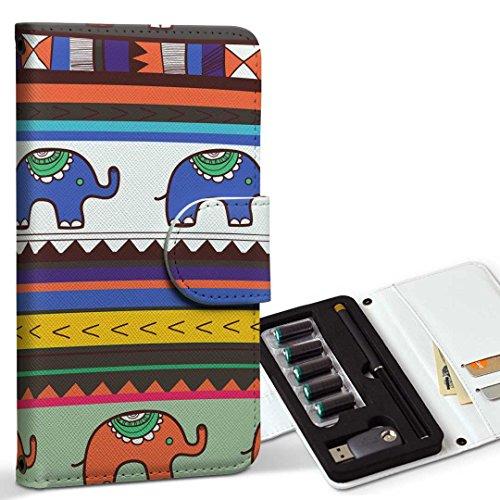 スマコレ ploom TECH プルームテック 専用 レザーケース 手帳型 タバコ ケース カバー 合皮 ケース カバー 収納 プルームケース デザイン 革 チェック・ボーダー 象 イラスト カラフル 模様 007334