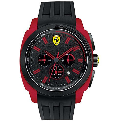 Ferrari Men's 46mm Chronograph Black Rubber Plastic Case Quartz Watch 0830115