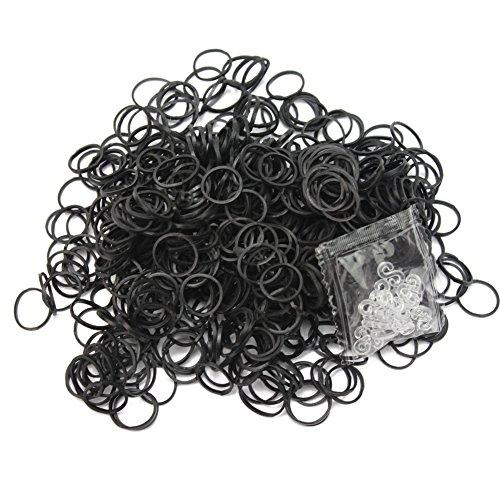 600x Noir Bandes en Caoutchouc +24 Clips pour Kit Loom Recharge Bracelets DIY