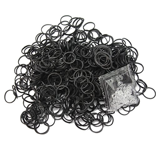 Bandes élastiques en caoutchouc noir 600 pièces 24 clips pour DIY Bracelet Loom Charm Bracelet de cheville neuf