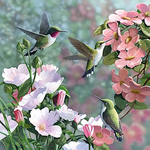 Pintura de diamantes para adultos con forma de colibríes, para paisajes, pájaros, flores, por kits de diamantes, colorido, 5D, para manualidades, kit de números para principiantes