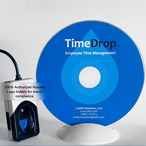 Employee Time Clock Software and Fingerprint Scanner, Time Attendance Tracker, Unlimited User Profiles, No Monthly Fees, Incl. Support and Updates, Digital 4500 Series Scanner, TimeDrop by LotHill