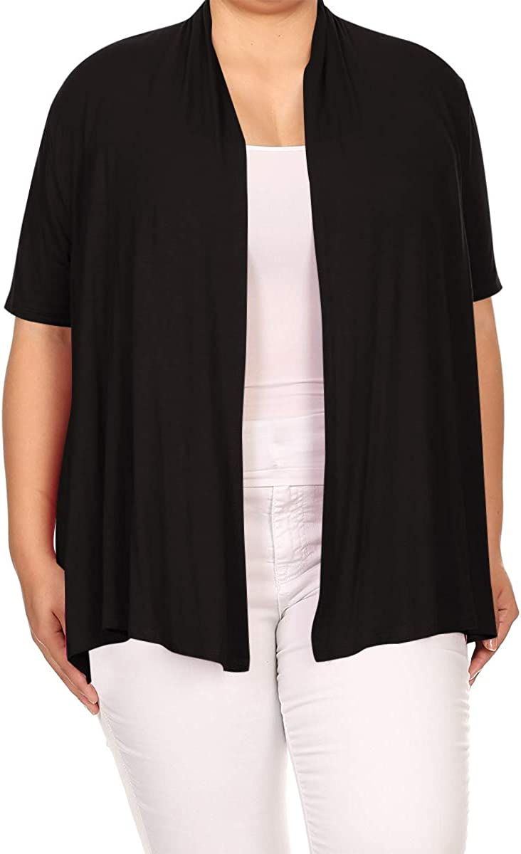 Women's Plus Size Short Sleeves Draped Open Front Solid Cardigan Made in USA