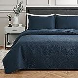 EHEYCIGA Steppdecken-Set für Doppelbett, marineblau, 2-teiliges Set, leichte Damast-Tagesdecke mit 1 Kissenbezug, maschinenwaschbar