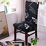 Lukzer 1PC Elastic Chair Cover (Black with White Flower) for Dining Chair Redecorate Old Chairs/Stretchable Removable & Washable Protective Seat Slipcover Home Restaurant Office Decor