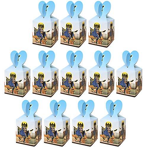 Qemsele Party-Schachteln Partytüten 12 Stück, Kinder Mitgebsel Kindergeburtstag Gastgeschenke Tüten Tasche, Kordelzug Rucksack Bag Turnbeutel für Mädchen Kostümparty, Geburtstagsfeier (Batman)