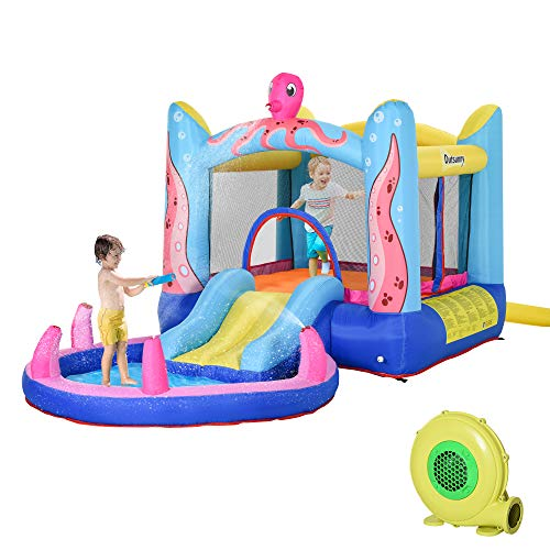 Outsunny Kids Bounce Castle House Inflatable Trampoline Slide Water Pool 3 in 1 with Inflator for Kids Age 3-12 Octopus Design 3.8 x 2 x 1.8m