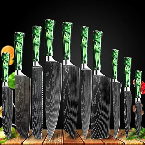cocina Damasco patrón chef cuchillo conjunto azul verde resina cuchillos de cocina japoneses conjunto Santoku Cleaver rebanando herramienta de cuchillos de utilidad cuchillos (Color : 10Pcs set 03)