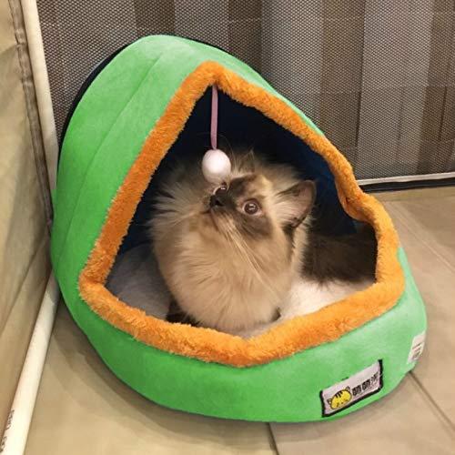 Shufeivicc Pet per Perro Cat WEAT Soft Soft Bed CUJIÓN Pet Cushion Dog KENEL Cat Castle Casa Plegable del Perrito con la Bola de Juguete, Tamaño: L (Color : Green)