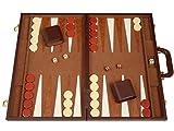 Deluxe Backgammon Set - (funda mediana de 18 pulgadas) - Marrón