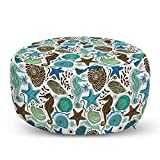 Ambesonne Sea Shells Ottoman Pouf, Maritime Art with Seahorse and Starfishes Hand Drawn Aquarium Pattern, Decorative Soft Foot Rest with Removable Cover Living Room and Bedroom, Seafoam Brown