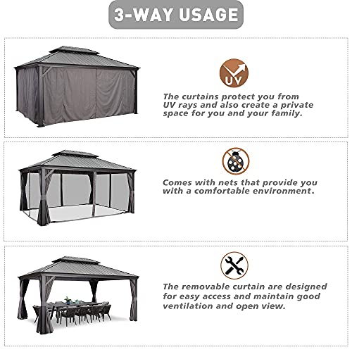 PURPLE LEAF 12' X 16' Permanent Hardtop Gazebo Aluminum Gazebo with Galvanized Steel Double Roof for Patio Lawn and Garden, Curtains and Netting Included, Grey