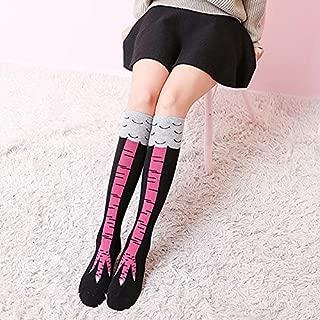 NAIVEDREAM Calze alte al ginocchio scaldamuscoli per scuola e cosplay alla moda in cotone elasticizzato a righe arcobaleno sopra il ginocchio e coscia per donne e ragazze