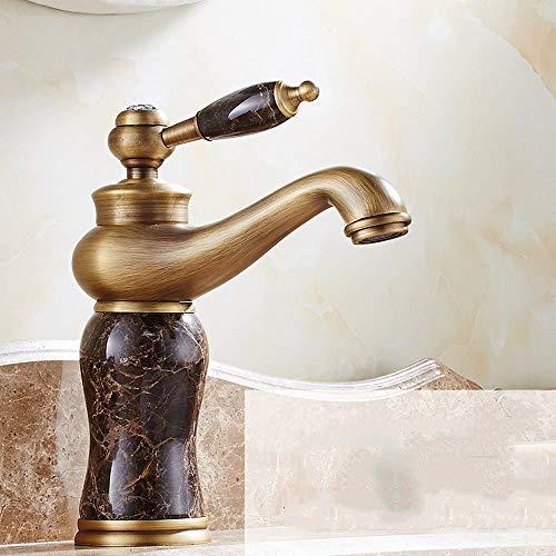 NNshoes Klassisches Antike Kupfer Bad Wasserhahn heiß und kalt ganzer europäischer Retro- Jade Bassinhahn Waschbecken Wasserhahn