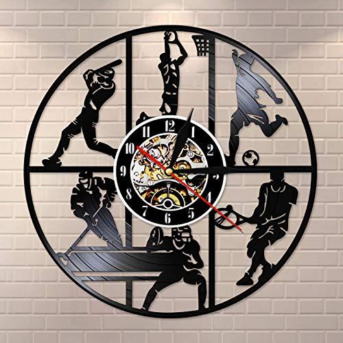 KEC Béisbol Baloncesto Fútbol Hockey Fútbol Tenis Juego de Pelota Disco de Vinilo Reloj de Pared Habitación para niños Deportes Arte de la Pared Reloj Colgante