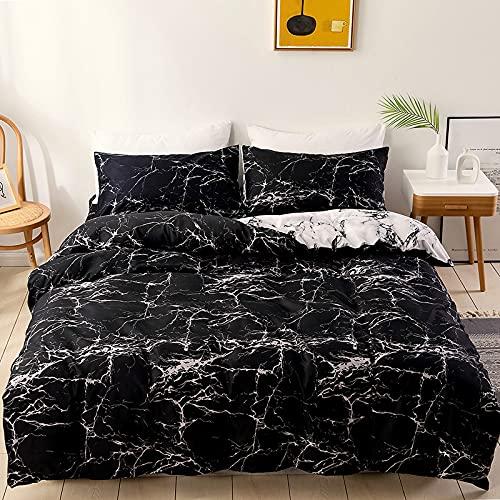 Shujin 2/3 pièces Set Housse de Couette Parure de lit Noir Marbe Imprimé Microfibre Literie Parure de Lit 2 Personne avec 50x75CM Taies d'oreiller (Noir,200x200 CM)