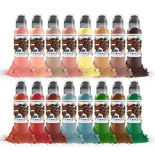 Oleg Shepelenko Realism Color 16 Bottle Set - World Famous Tattoo Ink - 1oz