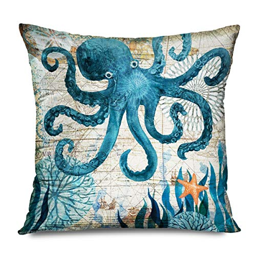 FAREYY Rustic Pillowcase Mediterranean Vintage Style Octopus Nautical Watercolor Decorative Throw Pillows Cushion Cover for Bedroom Sofa Living Room 18 x 18 Inches