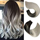 Tape In Hair Extensions Human Hair Balayage Ombre Hair 20pcs/50g Per Set Natural Black Fading to Silver Gray Double Sided Tape Skin Weft Remy Silk Straight Hair Glue in Extensions Human Hair 22 Inch