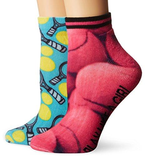 K. Bell Women's 2 Pack Tennis Low Cut Socks, Pink/Jewel, 9-11