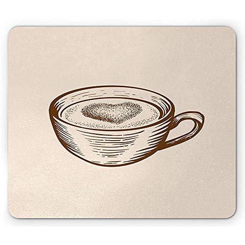 Mokka-Mausunterlage, einzelner Tasse Kaffee mit dem Herzen, das eigenhändig grafische Getränkegrafik Mousepad, Schokolade und Champagne gezeichnet Wird
