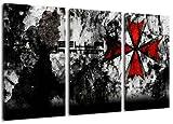 umbrella corporation 3-teilig auf Leinwand- Gesamtformat: 120x80 cm fertig gerahmte Kunstdruckbilder als Wandbild - Billiger als Ölbild oder Gemälde - KEIN Poster oder Plakat