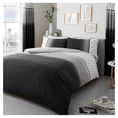 Lions Modern Urban Ombre Duvet Quilt Cover Polycotton Printed Bedding Set (Grey, Double)