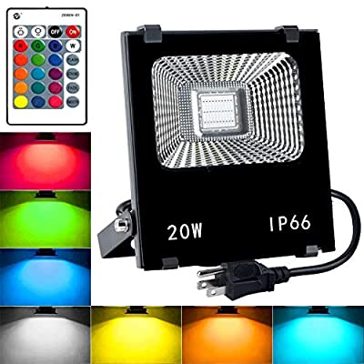 RGB LED Flood Lights,20W Outdoor Color Changing Floodlight with Remote Control,IP66 Waterproof Spotlight,16 Colors 4 Modes Dimmable Wall Washer Light,with US 3-Plug (RGB)