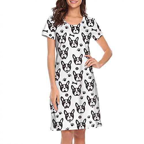 Women's Sleepwear Tops Chemise Nightgown Lingerie Cute Dog Face Cartoon Boston Terrier French Bulldog Girl Pajamas Beach Skirt Vest