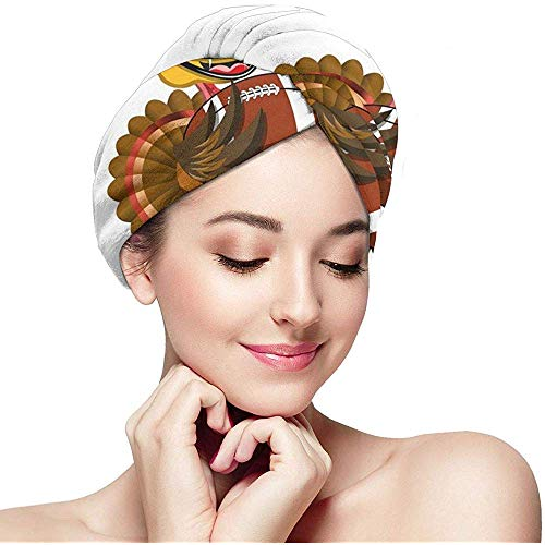 mahada Quick Dry Hair Wrap Handtücher Turban, American Football-Spieler Vogel im Cartoon-Stil Lustige Tierfigur Sport-Thema