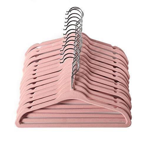 Baby Samt Kleiderbügel für Neugeborene, 28cm Kinder Größe, 360 Grad drehbar, Ultra dünn und kein Schlupf Design 15 Pack(Rosa)