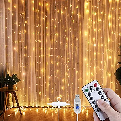 VOICEPTT Guirnalda Luces para patio,Luces de Cortina 300LED 3m* 3m,Cadena de luces Recargable por USB,Cortina Luminosa de Lamparita LED...