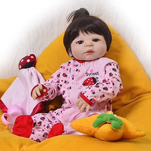 ASDAD Bebes Reborn Full Body Silicone Reborn Baby Dolls Realista Niño Regalo De Cumpleaños Muñecas De Juguete Bebe Bonecas Reborn Corpo De Silicone,Blue Eyes