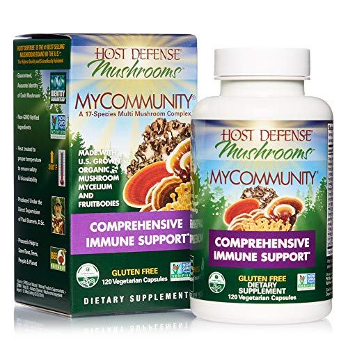 Host Defense, MyCommunity Capsules, Advanced Immune Support, Mushroom Supplement with Lion's Mane, Reishi, Vegan, Organic, 120 Capsules (60 Servings)