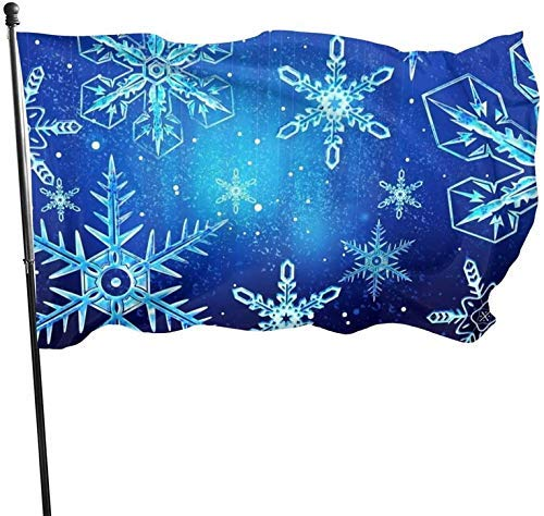 YURONG Yule Special Blue Snow Art Christmas Themed Welcome Party Outdoor Outside Decorations Ornament Picks Home House Garden Yard Decor 3 X 5 Ft Jumbo Large Huge Flag