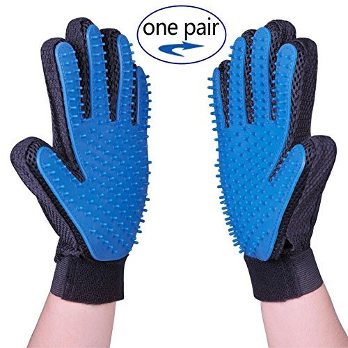 Pet Grooming Gloves for Dog Cat,Shedding Tool Hair Remover for Dog Cat,Pet Dog Cat Massage Tool & Bathing Brush for Shedding Long Short Or Curly Hair Comb,Blue,One Pair (Left & Right Hands Included)